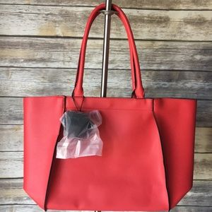 Handbags - NWOT, red M/L tote bag with black pouf keychain